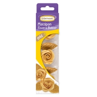 16 St. Marzipan-Rosen, gold mit Blätter