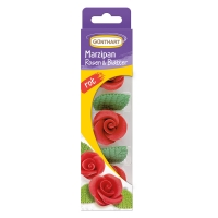 16 St. Marzipan-Rosen, rot mit Blätter
