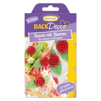 15 St. Zucker-Rosen rot mit Blumen