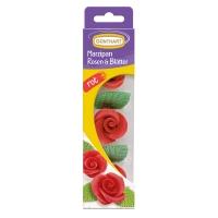 16 Rosen rot mit Blättern