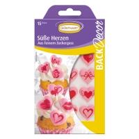 15 Zucker Herzen rosa mit Motivdruck