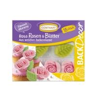 Rosa Rosen und Blätter