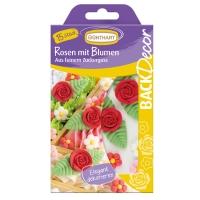 Zucker-Rosen rot mit Blumen
