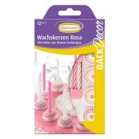 15 Zucker-Kerzenhalter mit Kerzen, rosa-weiss