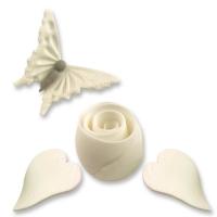 Feinzucker-Set, weiß, Schmetterling, Rose, Blatt