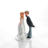 1 St. Poly-Brautpaaraufsatz m. Blumendekor