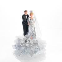 """Porzellan-Brautpaar-Aufsatz """"Zur silbernen Hochzeit"""""""