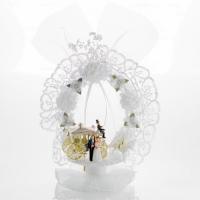 2 St. Brautpaaraufsatz mit Goldkutsche aus Kunststoff