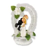 1 St. Poly-Brautpaar mit Tüllkranz