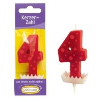 15 St. Wachskerzen-Zahlen rot mit Halter Nr. 4