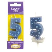 15 St. Wachskerzen-Zahlen blau mit Halter Nr. 5