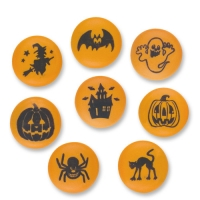 84 St. Zucker-Rondellen mit Halloween-Motiven, sortiert