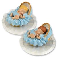 Polyresin-Aufsatz, Baby im Korb, blau
