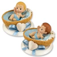 4 St. Kleine Poly-Aufsatz Baby im Körbchen blau
