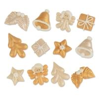 48 St. Zucker-Weihnachts-Set, gold und perlmutt, sortiert