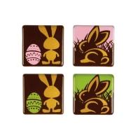96 St. Quadrate Hasen, dunkle Schokolade, sort.