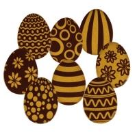 Ostereier 2D gold, dunkle Schokolade, sortiert
