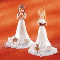 4 St. Polyresin-Kommunion-Mädchen, betend und mit Buch