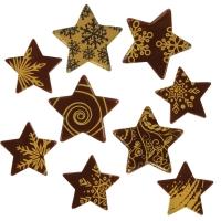Weihnachtssterne gold, dunkle Schokolade