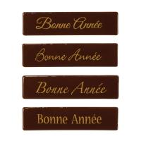 """96 St. Schriftstreifen """"Bonne Année"""", dunkle Schokolade"""