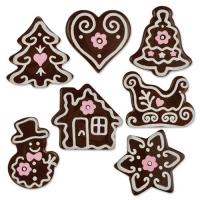 112 St. Weihnachts-Kleinteile, dunkle Schokolade, sortiert
