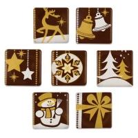 162 St. Quadrate Weihnachtsmotive gold/weiß, dunkle Schokolade, sortiert