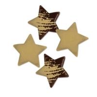 Weihnachtssterne, klein, gold, dunkle Schokolade