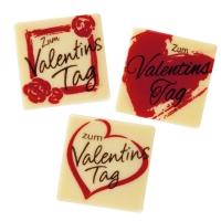 """Quadrate """"Zum Valentinstag"""", weiße Schokolade, sort."""