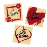 "Quadrate ""Je t'aime"", weiße Schokolade, sortiert"