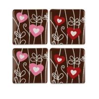 140 St. 4 Blister Quadrate Herzen, dunkle Schokolade, sortiert