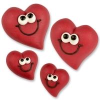 36 St. Marzipan-Herz-Gesichter, rot, groß und klein