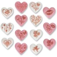 Zucker-Herzen mit Motiven, rosa und weiß, sortiert