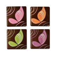 Quadrate Schmetterling, dunkle Schokolade, sortiert