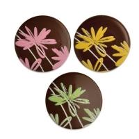 Aufleger Blumen, dunkle Schokolade, sortiert