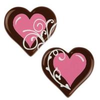 Herz rosa, dunkle Schokolade, sortiert