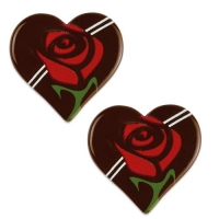 Herz, Rose, dunkle Schokolade, sortiert