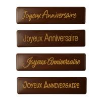 """Schriftstreifen """"Joyeux Anniversaire"""", dunkle Schokolade"""