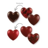 28 St. Schokoladen-Hohlherz 3D, dunkle Schokolade, rot, sortiert
