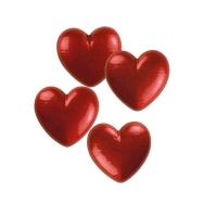 Kleine Herzen weiße Schokolade, rot
