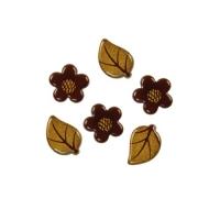 Blumen und Blätter, gold, dunkle Schokolade sortiert