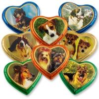 40 St. Nougat-Herzen bunt gr.  Hunde