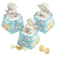 12 St. Polyresin-Schutzengel auf Box, sortiert, gefüllt mit weißen Pralinen (Nougatcreme-