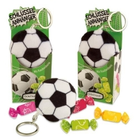Plüschanhänger Fußball in Box gefüllt mit Kaubonbons