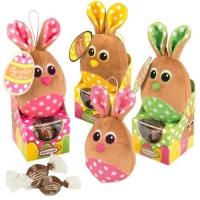 12 St. Plüsch-Hasen auf Box, sortiert, gefüllt mit feinen Pralinen
