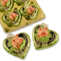 16 St. Polyresin-Glücksschwein auf Pralinenherz