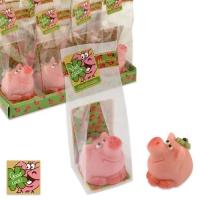 16 St. Kleines Marzipan-Schweinchen mit Kleeblatt im Cellophanbeutel