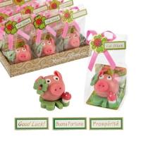 24 St. Glücks-Schwein mittel auf Kleeblatt