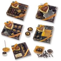 Kerzen-Präsent, braun & golden, sortiert