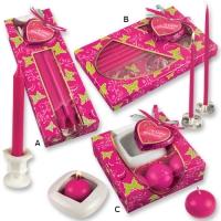 Kerzenpräsent pink, sortiert