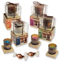 Teelichtgläser rund auf Box, sortiert